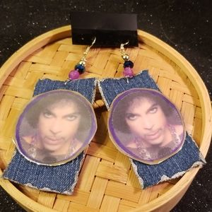 Fine 50 something Prince paper/denim earrings